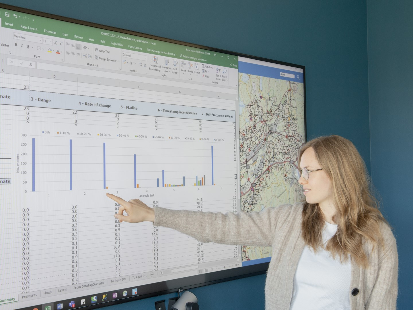 Rosa Marie Mathiasen, engineer at NIRAS, has already been testing the tool on a sample of approximately 100 meters in Malaysia and 800 meters in Oslo.